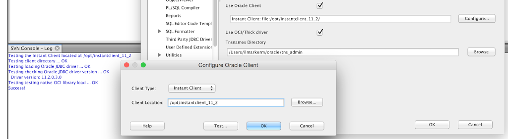 Setting up SQL Developer with Instant Client on MacOSX